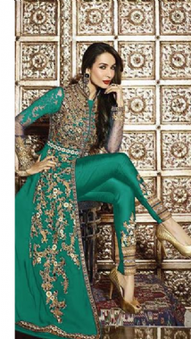 Stylish Embellished Teal Suit